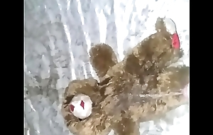 Pissing on stuffed animal