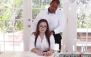 Negroid defy boss fucks Gabriellas juicy pain in the neck