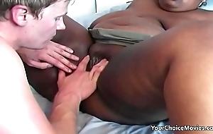Eager young bloke uses an older black bbw
