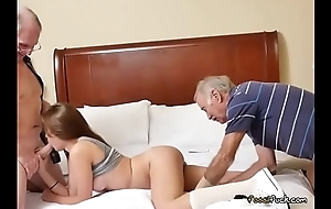 Teen Naomi Alice Gets Spit Roasted By Ancient Men