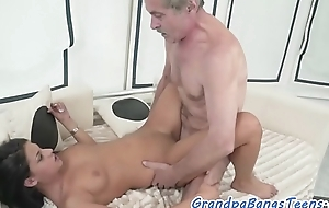 Cockriding eurobabe jizzed on pussy off out of one's mind oldman