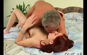 Breasty youngster gets their way pussy annihilated unconnected with an old chap