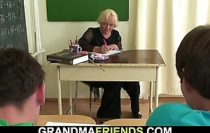 60 yo granny teacher is pounded by four boys