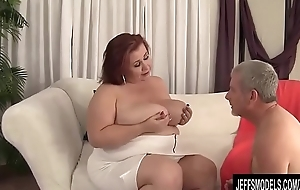 Busty BBW Lady Lynn Blows coupled with Tit Fucks a Guy coupled with About to Screws Him