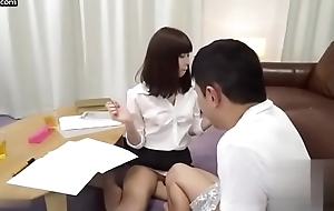 Sexy Japanese apathetic cram assists the brush student back sexual connection class
