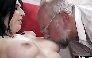 Domineer 19yo Russian Sheril Blossom suck off and rides grandpa