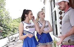 Elfin teen cheerleader squad fuck their perv coach