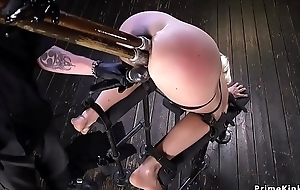 Blonde double penetration in gadgetry bondage