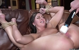 Guy chains brunette hottie and fucks
