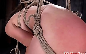 Tiedup beauty gets will not hear of pussy toyed