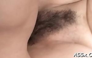 Asian dame shares her prat hole approximately racy glum troika sex