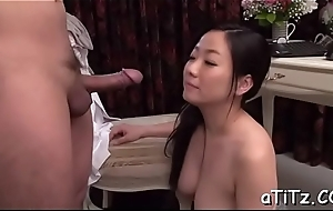 Breasty asian gives superb titty fuck and soaked fellatio