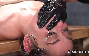 Slave deep throat fucked in bondage CV