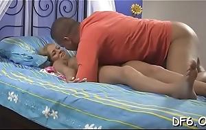 Favourable male enjoys pain &amp_ pleasure for his innocent girlfriend