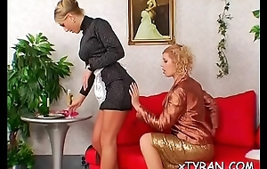 Hawt damsel gets her a-hole spanked in female domination fetish
