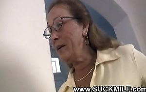 Horny cougar granny sucks youthful stud