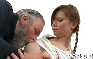 Young coquette licked by an old stud