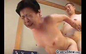 Japanese grandma giving a first-class oral-sex pursuit sex pursuit