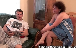 Chubby granny gets drilled on eradicate affect chaise longue