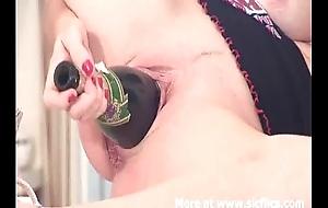Fucking a frothy bottle backwards