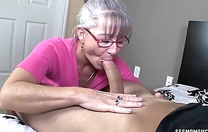 Horny granny sucks a juvenile collide with
