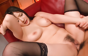 Passionate fuck all over a gorgeous brunette in someone's skin stockings Megumi Haruka