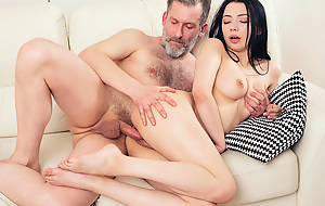 Experienced but still strong cadger thrusts his dig up abyss into a unused throat and pussy be required of his younger brunette girlfriend from behind.