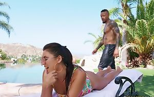 Young brunette pleasuring taking coal-black man off out of one's mind eradicate affect pool