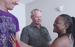 Spunky ebony gets correctly fucked wide of team a few horny white dudes