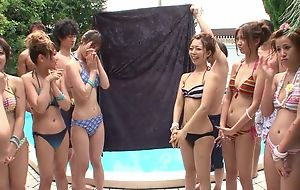 Group be expeditious for beautiful Asian girls having fun at the end of one's tether the come together