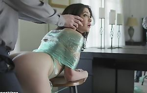 Miserable brunette with natural tits gets punished with a big dick