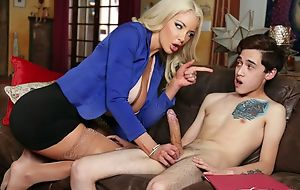 Dominate Dr. Shea teaches humble boy how to fuck