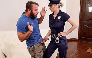 Gorgeous cop lady down big juggs fucks bearded stallion