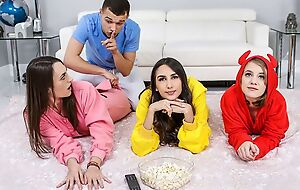 Three mischievous teens with na�ve breasts shagged in slay rub elbows with living room