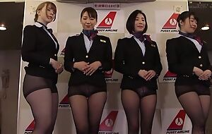 Group of Asian stewardesses procurement fucked good and proper
